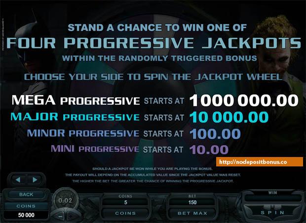 The Dark Knight Slot Progressive jackpot table