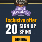 Casino Cruise: 20 Jimi Hendrix Free Spins NO DEPOSIT REQUIRED + 100% Bonus up to €/£/$100 and 100 Free Spins